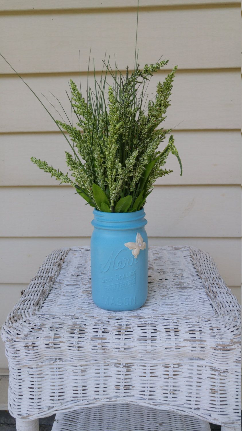 Pool Blue Mason Jar Arrangement! by ToastyBarkerBoutique on Etsy