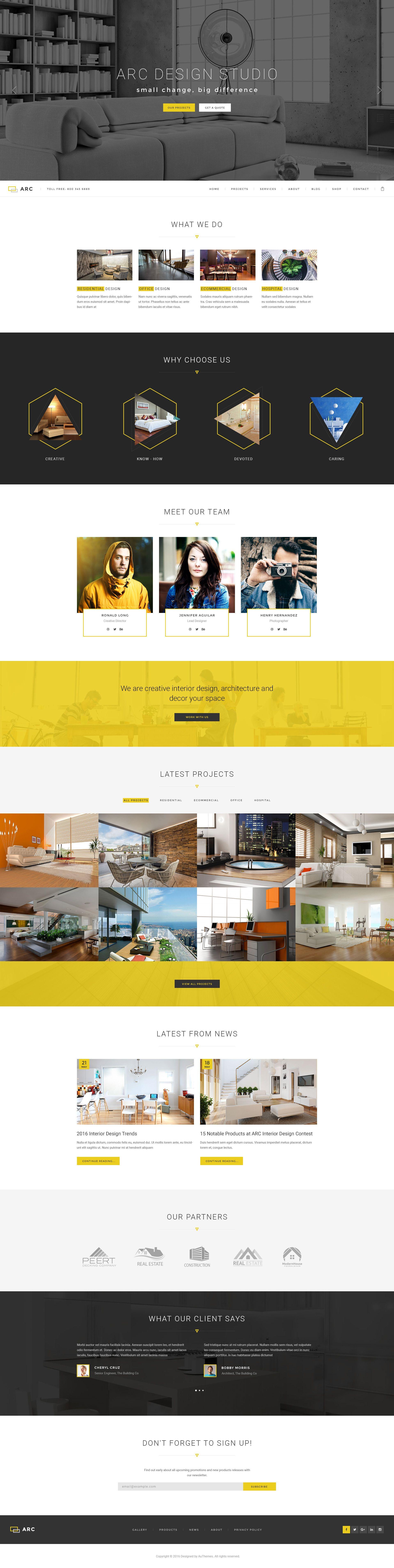 ARC - Interior Design, Decor, Architecture Business PSD Template ...
