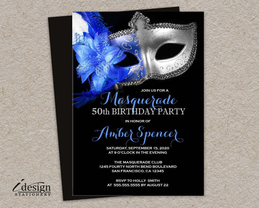 wording0th birthday party invitation%0A Masquerade   th Birthday Party Invitation   DIY Printable Mardi Gras Themed  Masquerade Ball Invitations In Royal