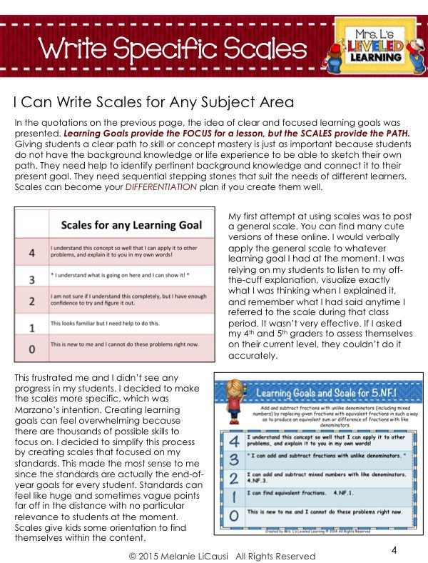 5 Tips for Writing Marzano Scales Learning goals