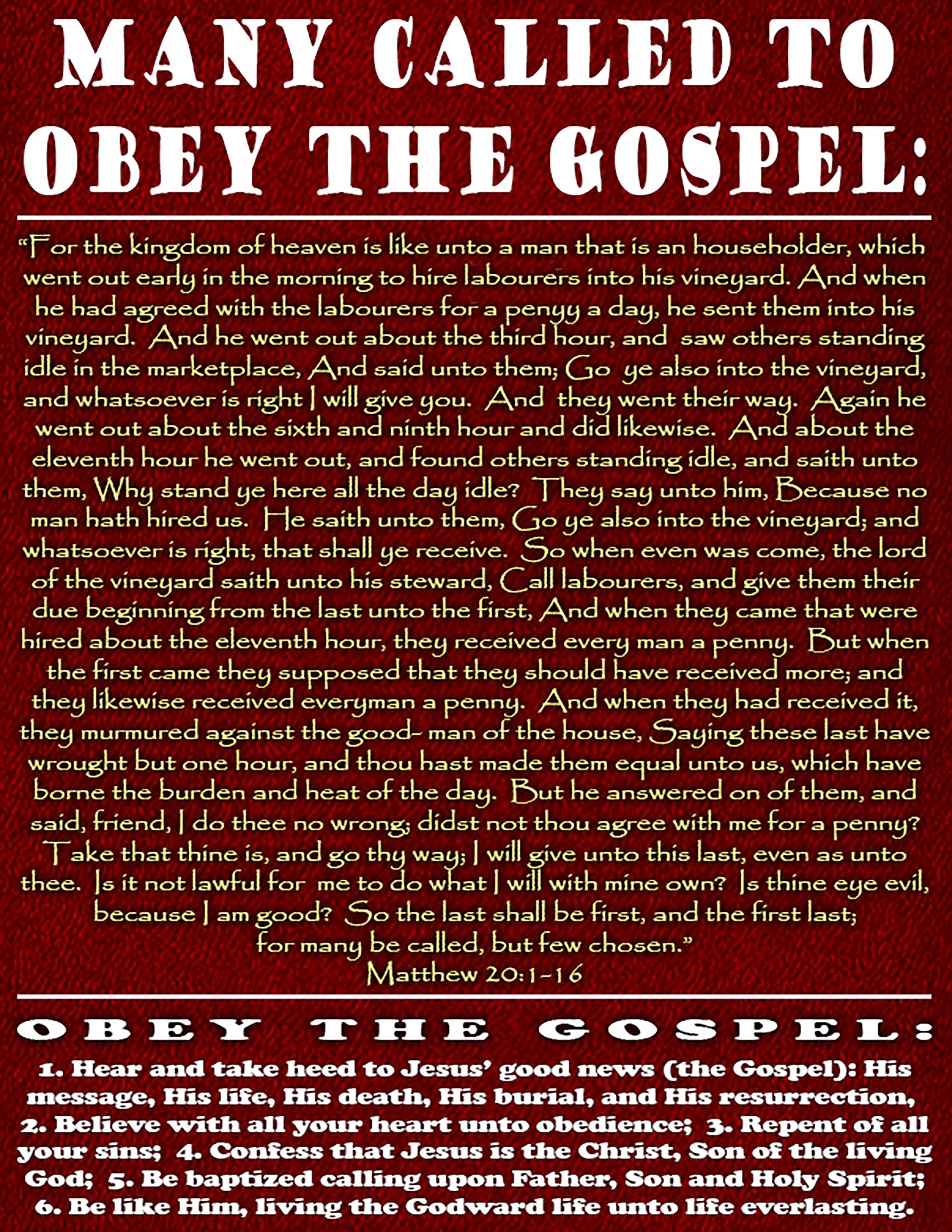 Many Called To Obey The Gospel Matthew 20 1 16 In 2020 Remission Of Sins Salvation Scriptures The Revelation Of Jesus Christ
