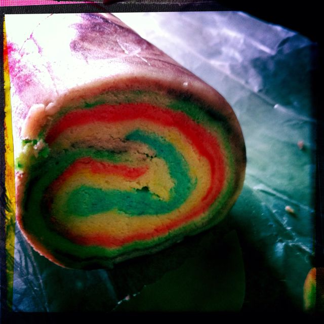 rainbow cookie dough ... This would be easier than shaping each cookie!