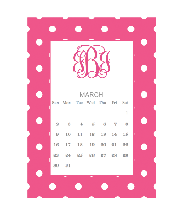 FREE printable monogram calendar for March {5 color options} could ...