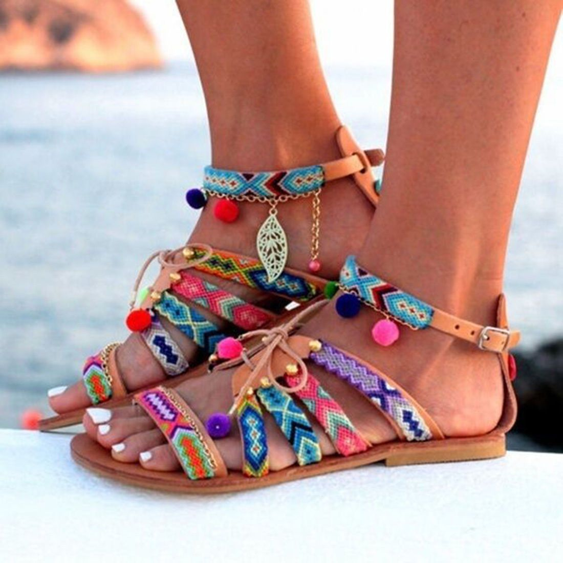 NEW WOMENS LADIES LACE UP FLAT GLADIATOR POM POM SANDALS SHOES SUMMER SIZE PEEP