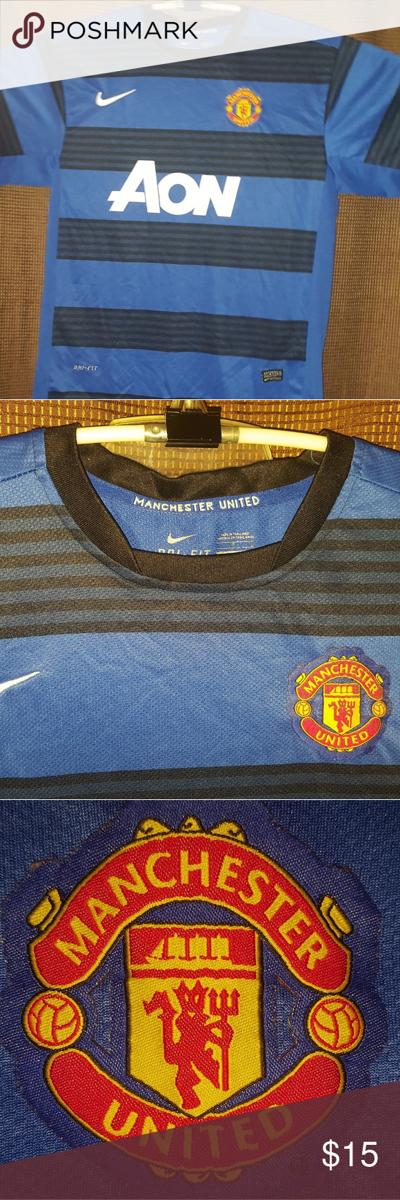 L - Nike Manchester United L/S Away 14/15 Jersey Long Sleeve. Used but loved. Worn out numbers. No rips or stains. Dri-Fit Moisture Whicking Technology. Reiterating Loved and Worned a lot for extra luck. Authenticity tag coming loose. All offers will be considered. Please post any questions or comments. Will reply asap. Nike Shirts Tees - Long Sleeve
