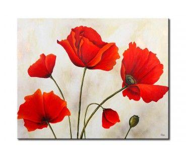 Modernes Gemalde Mohnblumen Am Grauen Tag Blumenzeichnung Blumen Kunst Blumen Malen
