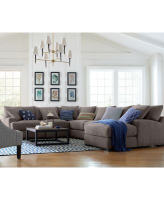 Rhyder 3 Pc L Shaped Fabric Sectional Sofa Created For Macy S Fabric Sectional Sofas Sectional Sofa Fabric Sectional