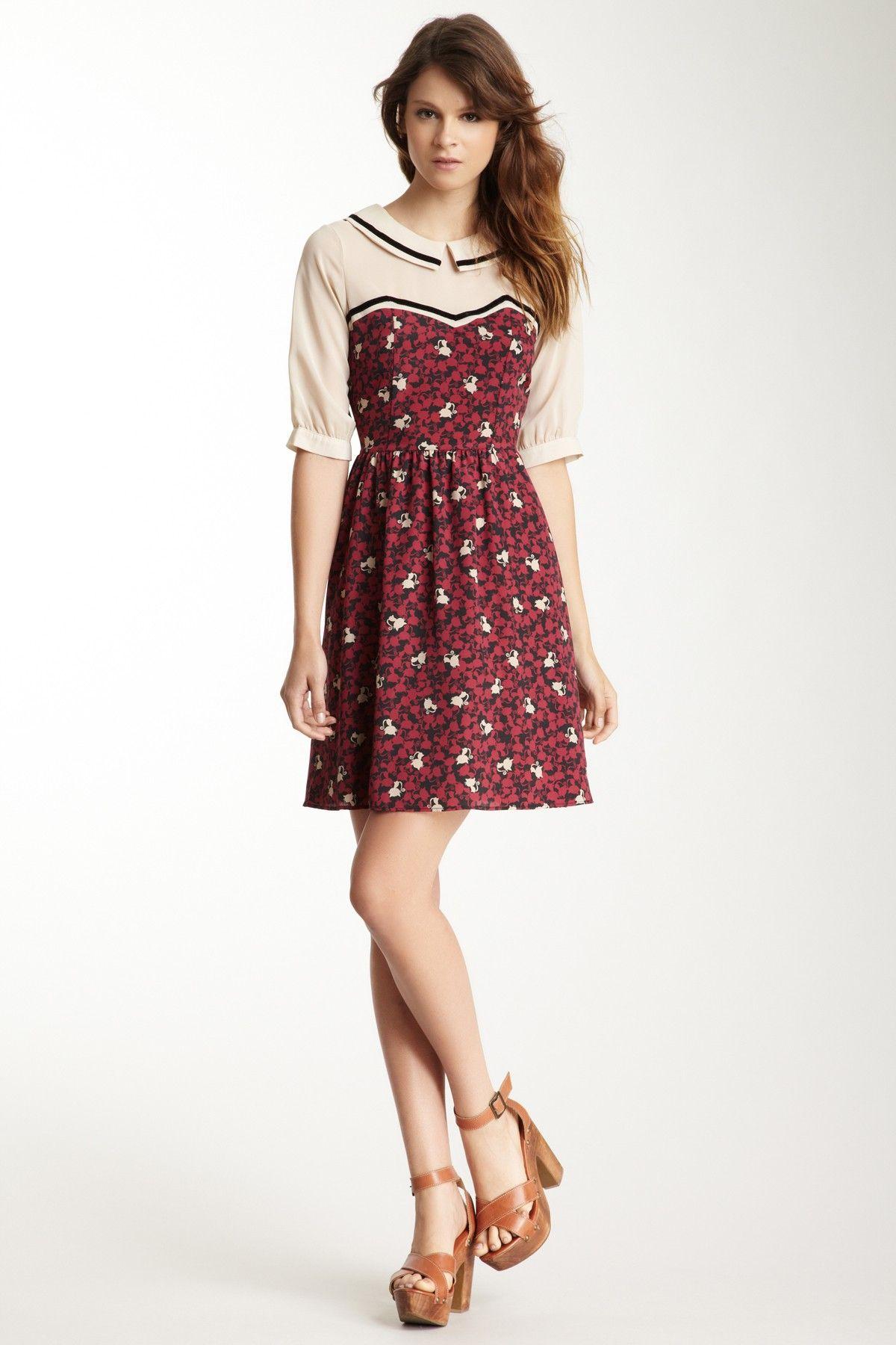 Sheer Yoke Printed Dress