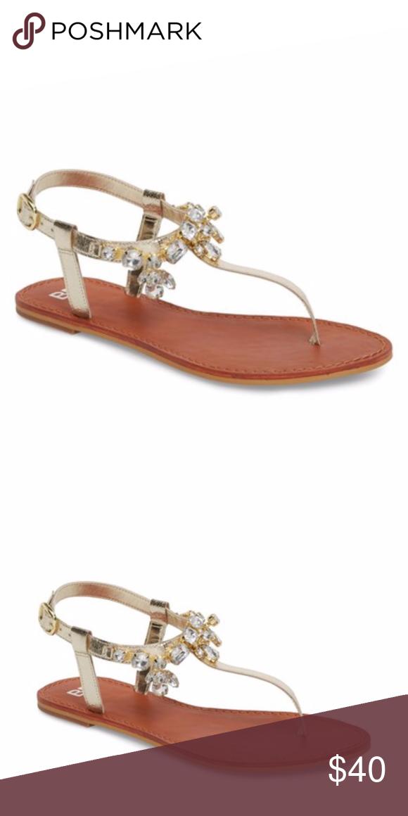 9818f4b85 BP Gold Embellished T-Strap Sandal - New NEW! A bracelet of multi ...