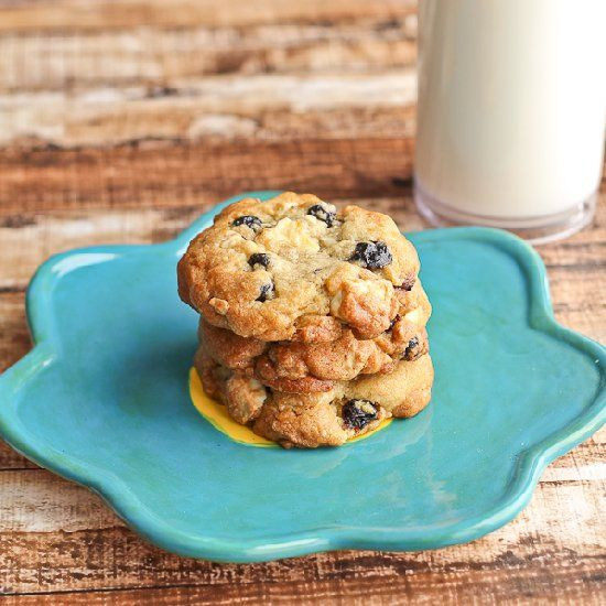 Chewy Lemon Cookies studded with Dried Blueberries and White Chocolate Chunks.