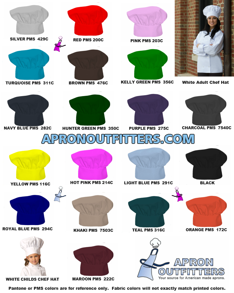 Child and adult sized chef hats are available in 20 standard colors.  Made in the USA!
