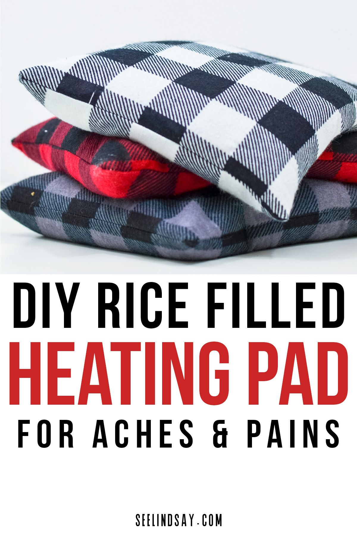 Make this rice-filled heating pad today. This natural heating pad helps solve your aches and pains from all your vigorous exercises. Making a homemade heating pad is easy and all you need is rice and some flannel fabric. Cut it on your Cricut Maker or cut it by hand. #cricutmade #cricutmaker #heatingpad #homemadeheatingpad #diyheatingpad #riceheatingpad