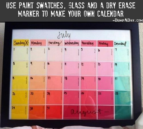How To Make A Calendar With Paint Swatches! Paint swatches, Craft