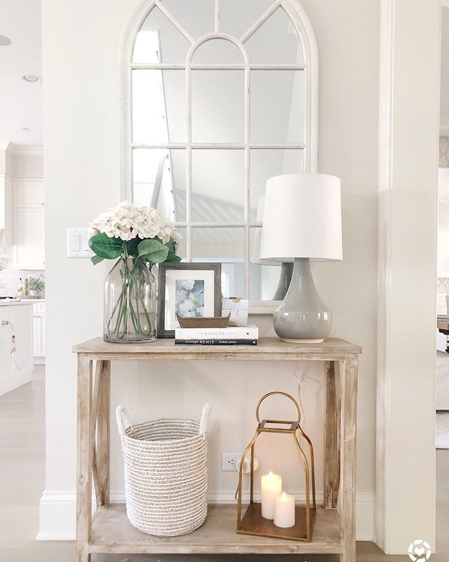 Entry Way Decor Features Light Wood Console Table Arched Frame Mirror Pretty Brass Lantern And Target Ligh Entry Decor Entryway Table Decor Target Home Decor