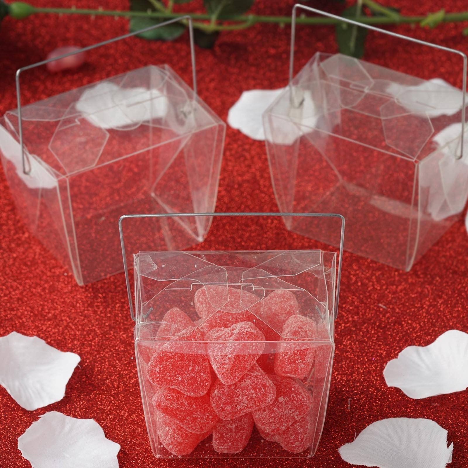 25 Pack Plastic Clear Take Out Favor Candy Boxes With