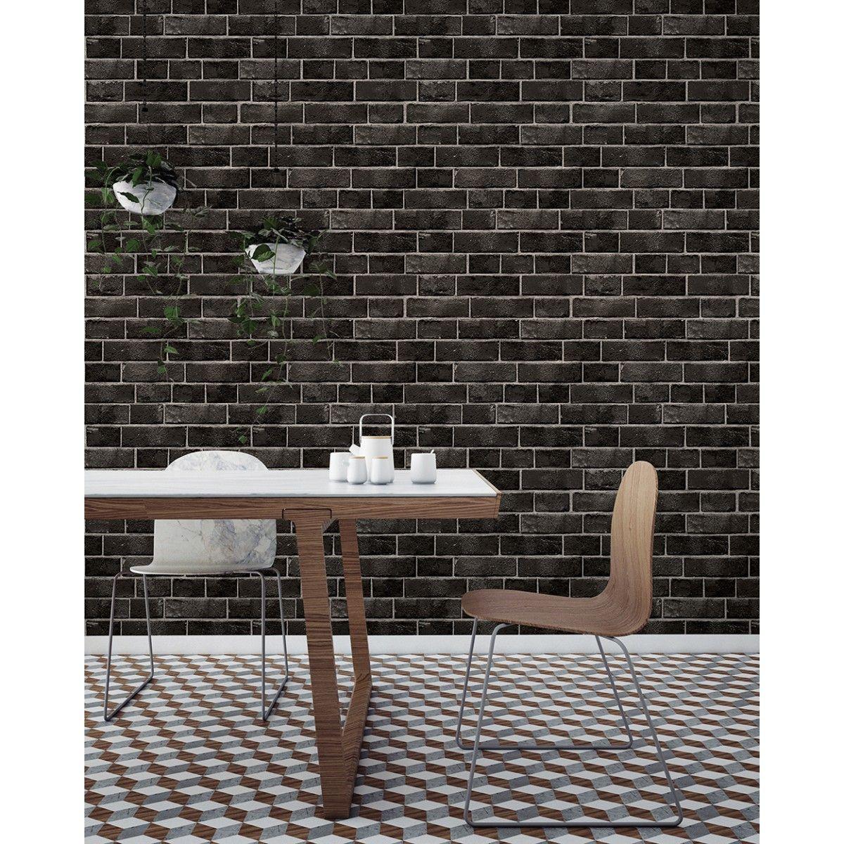 BRICK Ebony, Tempaper Brick temporary wallpaper