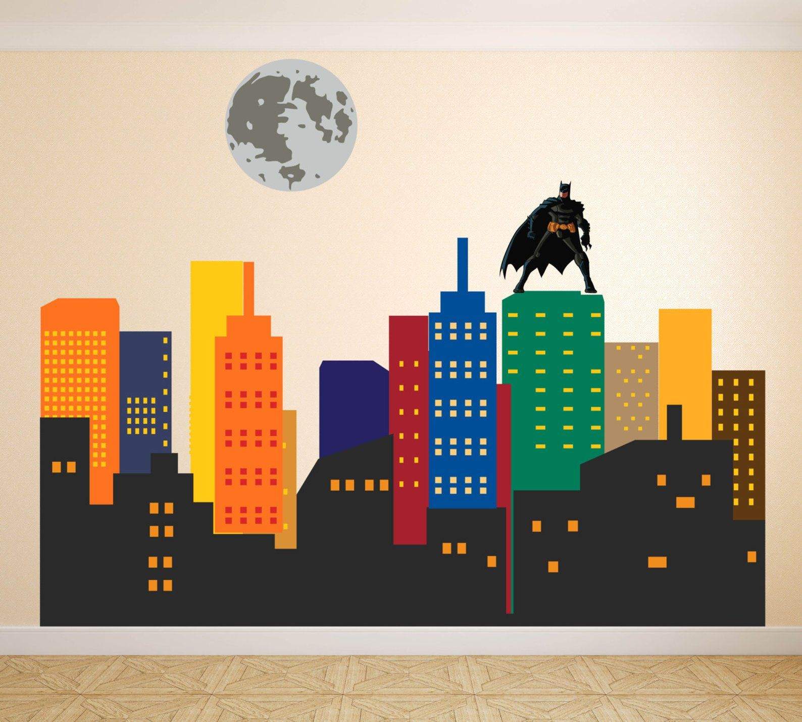 Super Hero Wall Decal City Skyline Wall Decal Gotham City Etsy Superhero Wall Decals Superhero Wall Batman Wall