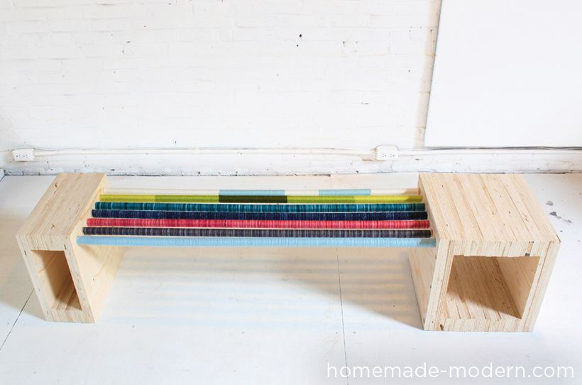 Homemade Modern Diy Colorful Mudroom Yarn Wrapped Dowels Make This Bench Wonderful Complete Build Instructions He Homemade Modern Modern Diy Diy Furniture