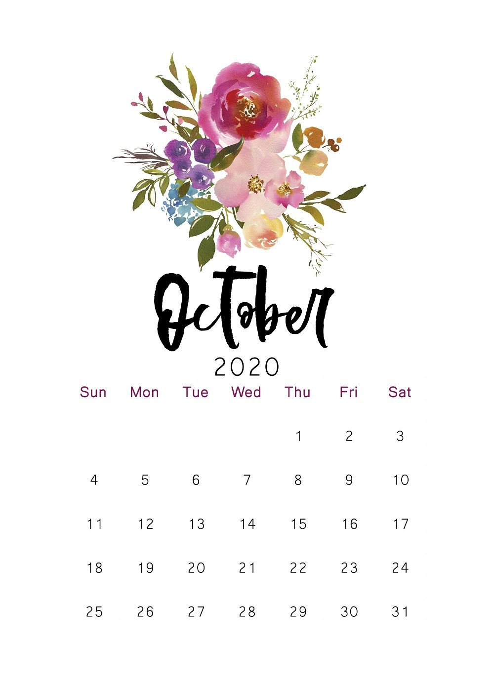 2020 Printable Calendar Floral Watercolor Calendar Letter Etsy In 2020 Calendar Wallpaper Hello October Images Lettering