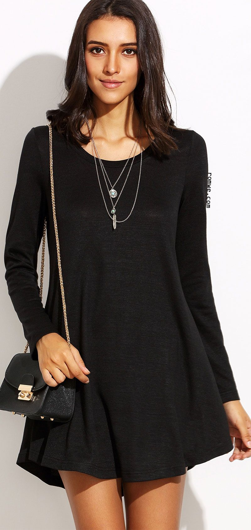 2a1b10bf3eebd Black Round Neck Long Sleeve Shift Dress | Romwe Hot Buy | Pinterest ...
