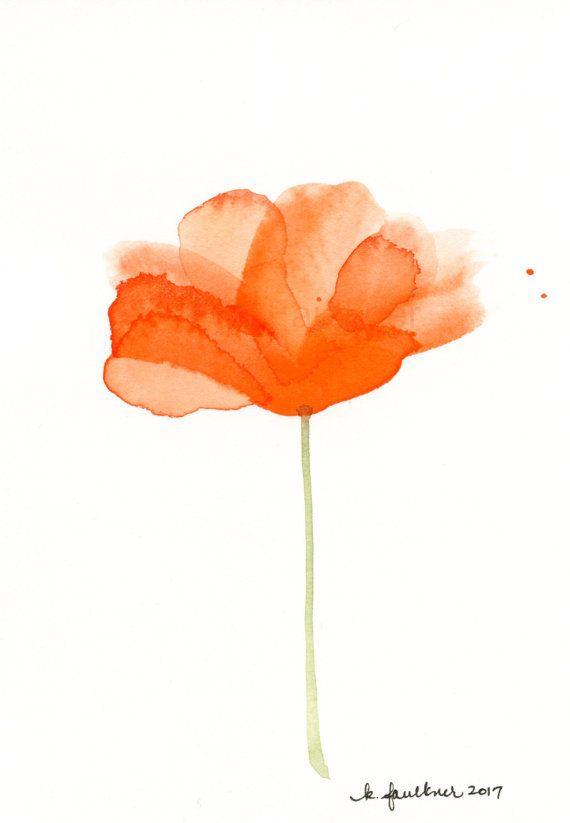 Flowers Artwork California Poppies Original Watercolor Painting