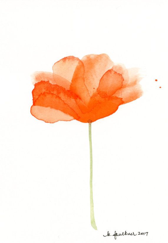 Orange Watercolor Flower Painting Blossoming Aquarelle Fleurs