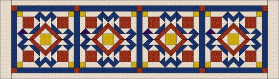 Cathedral windows - Bed Runner and Cushions by QuiltFOX, designed by Judit Hajdu 2014