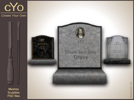 cYo Gravestone | Tombstone,  full perms + Photoshop file