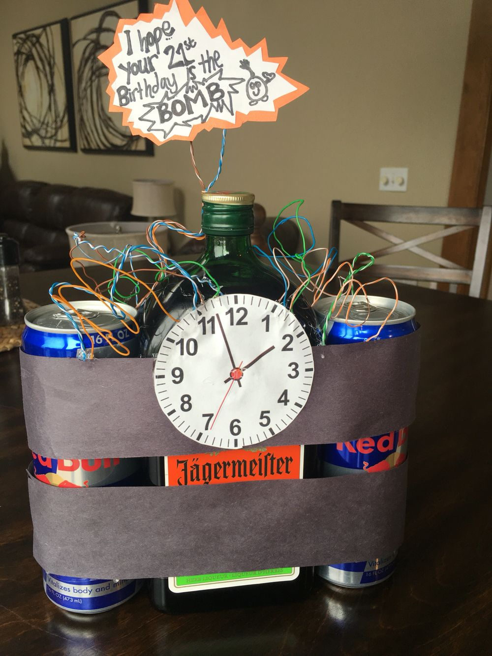 boyfriends 21st birthday idea. jäger bombs. creative birthday gifts