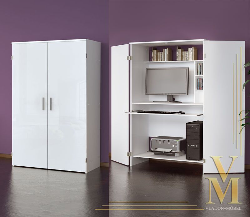 Computer Cupboard Cabinet Hideaway Desk In White / White Highgloss