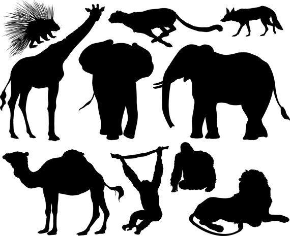 Set Of Wild African Savanna Mammals Vinyl Decals Silhouettes Etsy Animal Silhouette African Animals Animal Stencil
