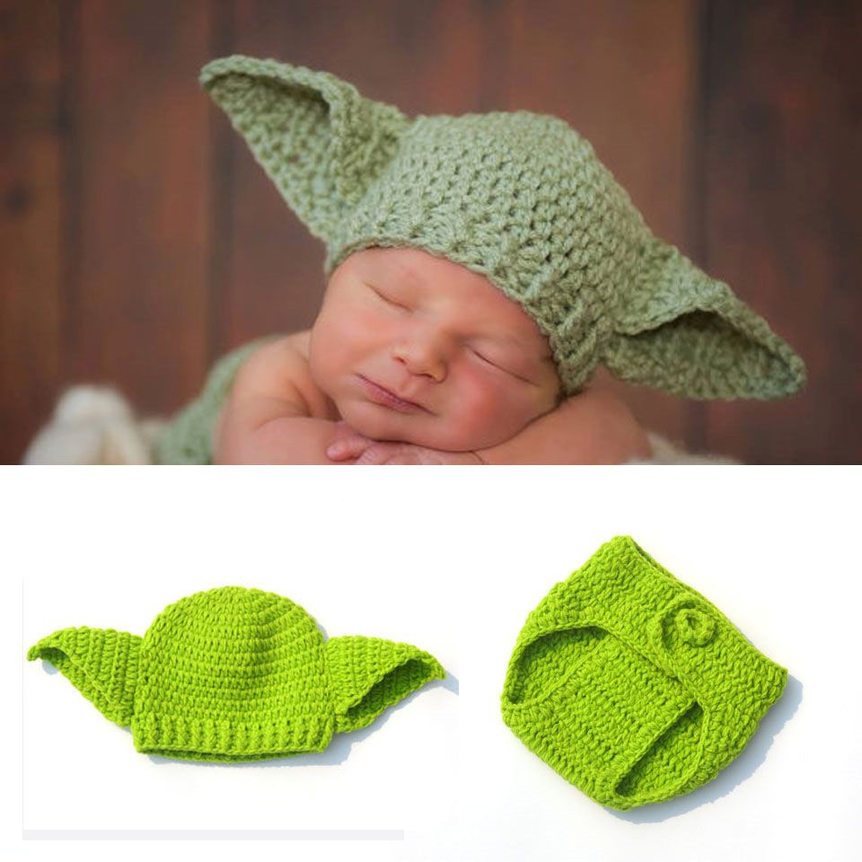 Moeble Infant Boy Knitted Star Wars Yoda Outfits Photography Props ...