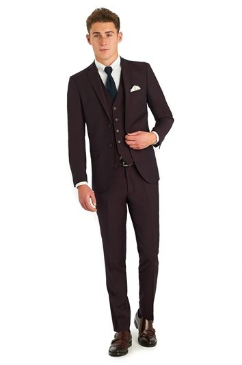 Moss London Skinny Fit Burgundy Suit Jacket | Groom Bridal Suit ...