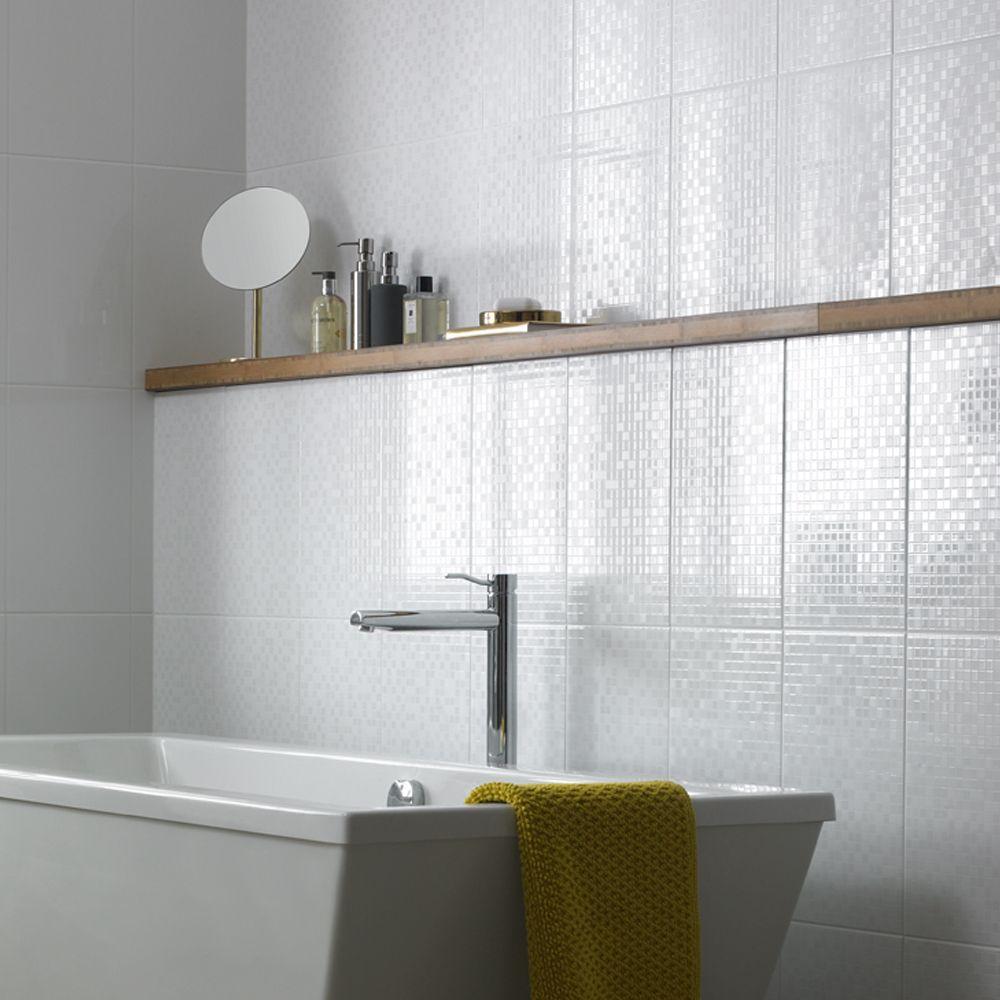 Paddington White Lustre Squares Decor 248X398  Bathroom