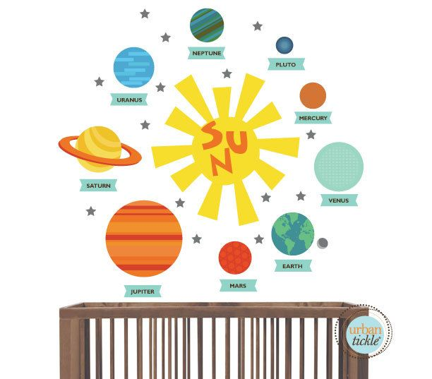 Planet Decals, Solar System Stickers, Nursery Decor, Baby Room, Play ...
