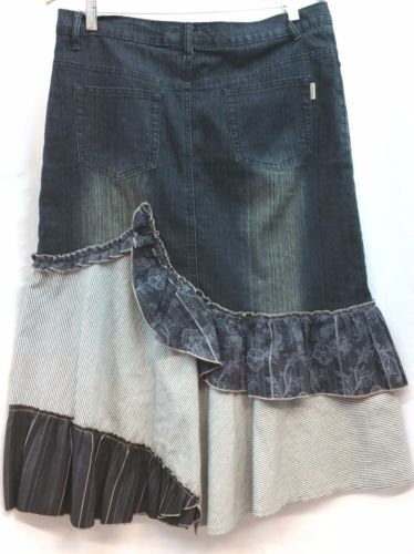 8760fa9cd Details about HAODI JEANS CLASSIC PRINTED PANELING GREY DENIM SKIRT ...