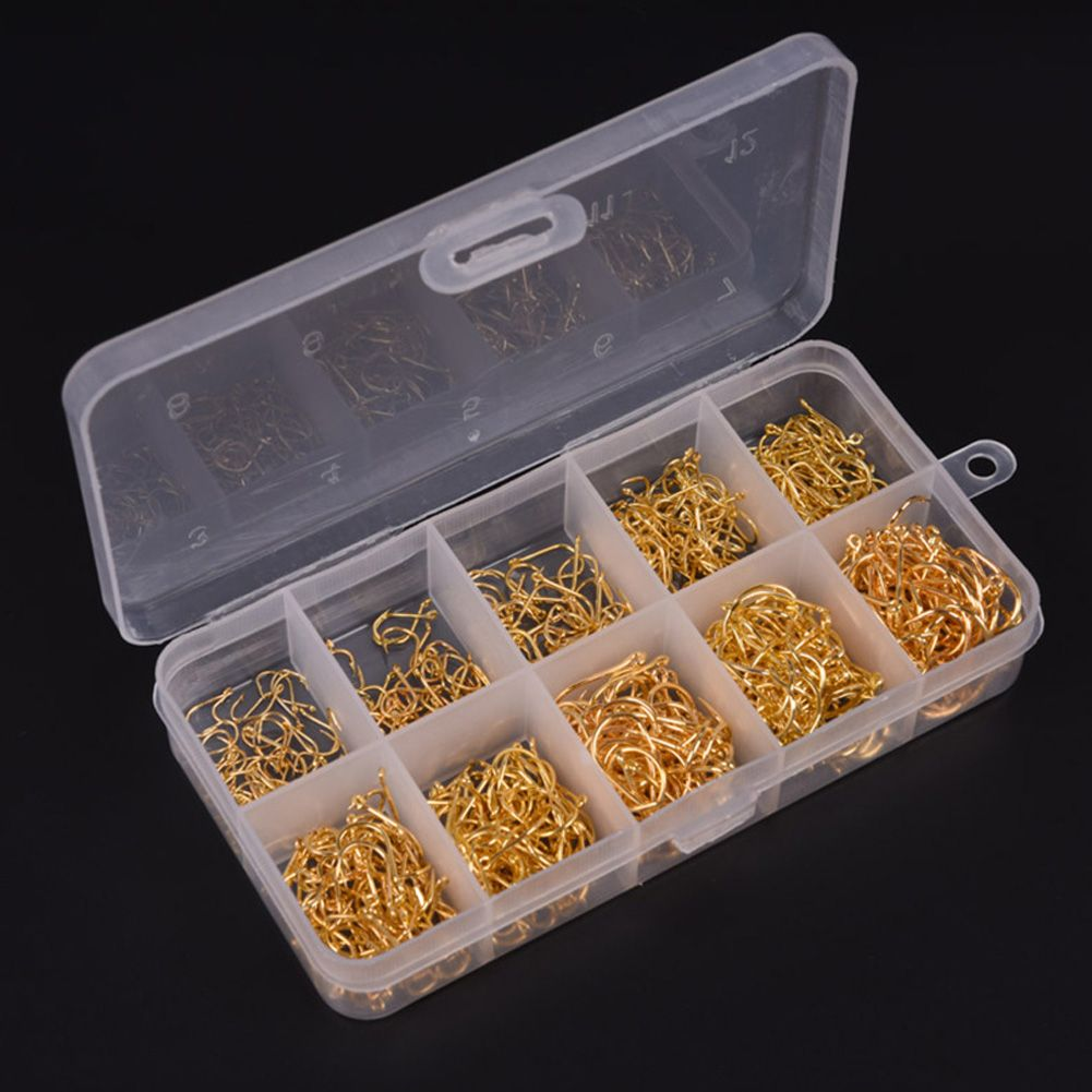 500Pcs//Lot Fishing Hooks High Carbon Steel Sharpened Fishing Hook With Box Gold