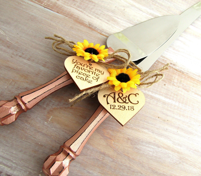 Rustic Sunflower Wedding Cake Server & Knife Set Rose Gold