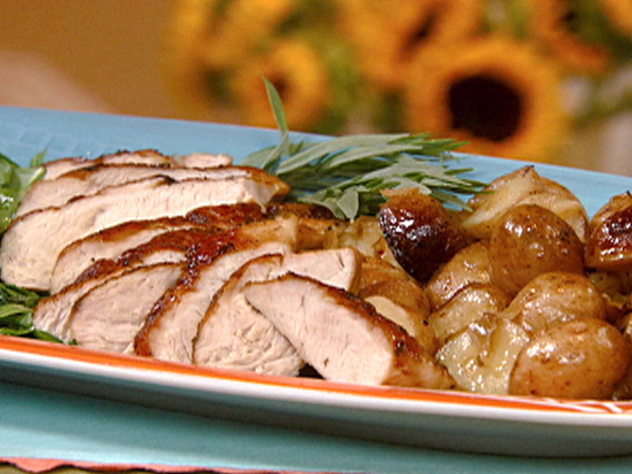 Roasted Turkey Tenderloin With New Potatoes And Tarragon Broth Recipe From  Robin Miller Via Foodwork