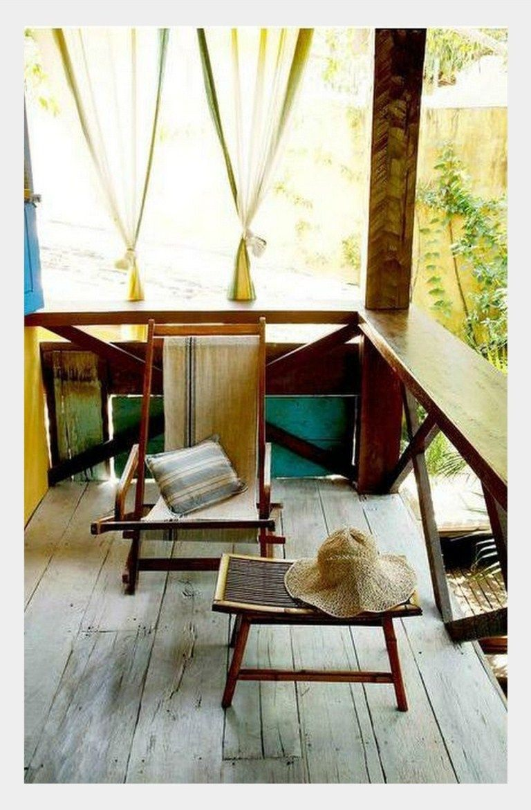 Tropical Porch With Vintage Folding Chairs House With Porch