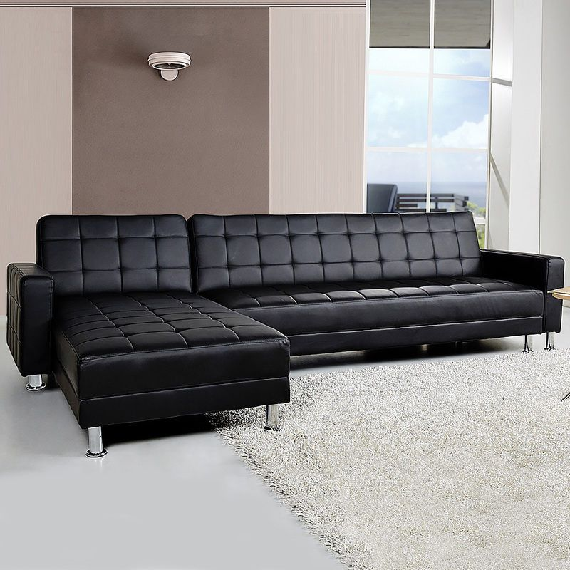 4 Seater Pu Leather Sofa Bed Couch W Chaise Black Buy Furniture Couch With Chaise Corner Sofa Lounge Furniture