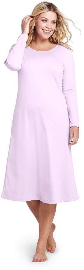 22aab00c7 Lands' End Lands'end Women's Plus Size Midcalf Supima Cotton Nightgown  #Size#Women#Lands