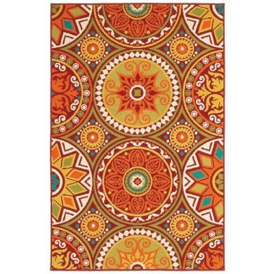 Shaw Living Medallions Red 7 Ft 10 In X 10 Ft 6 In Indoor Outdoor Area Rug 3k38409800 At The Home Depot Shaw Rugs Medallion Rug Area Rugs