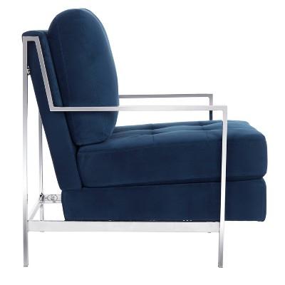 Best Walden Modern Tufted Arm Chair Navy Velvet Safavieh 400 x 300
