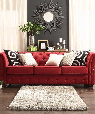 Look At This Zulilyfind Red Kensington Chesterfield Sofa Zulilyfinds Luxurybeddingred Red Couch Living Room Living Room Red Red Sofa Living Room
