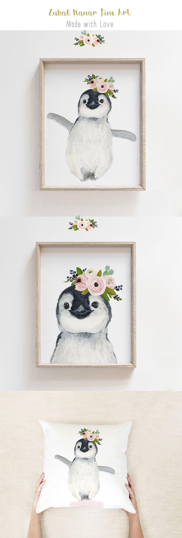 Penguin Nursery art, Arctic Animal nursery, Girl Nursery