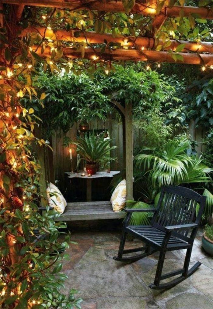 garten gestalten bilder beleuchtung schaukelstuhl pflanzen