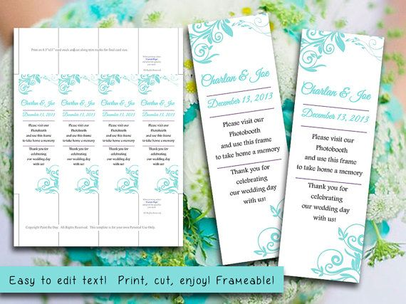 Photo Booth Insert Place Card Template  Charlan Turquoise Blue