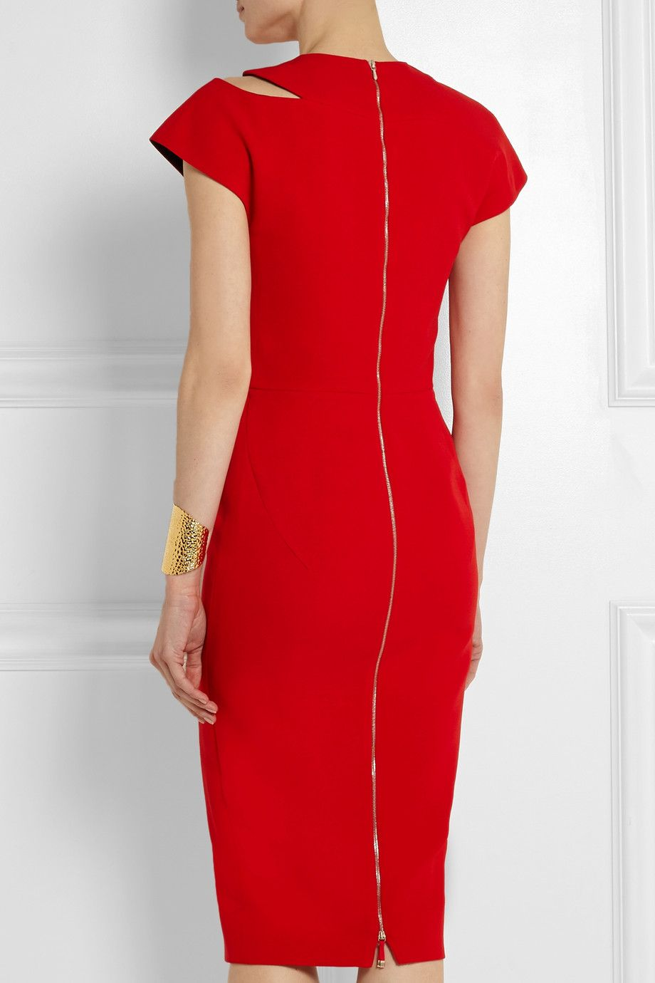 Red Cutout Silk And Wool Blend Crepe Dress Victoria Beckham Red Dresses Classy Red Fitted Dress Zippers Fashion [ 1380 x 920 Pixel ]