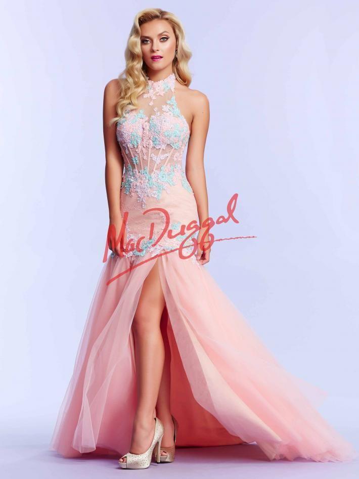Blush Prom Dress | Floral Lace | High Collar Dress | Mac Duggal ...